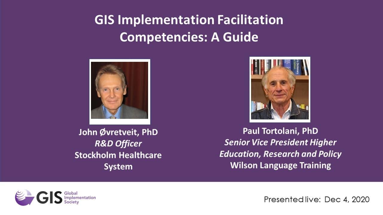 WEBINAR: GIS Implementation Facilitation Competencies: A Guide